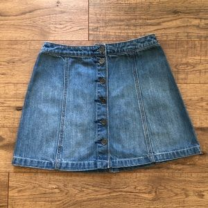 Abercrombie & Fitch Blue Denim Buttoned Skirt